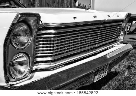 PAAREN IM GLIEN GERMANY - MAY 19: Detail of the front of the full-size car Ford Galaxie 500 (Third generation) black and white