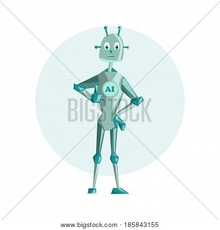 Robot artificial intelligence Cartoon characters design Vector illustration