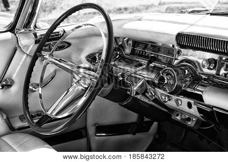 PAAREN IM GLIEN GERMANY - MAY 19: Cab personal luxury car Buick Series 700 Limited Hardtop Sedan (1958) black and white The oldtimer show in MAFZ May 19 2013 in Paaren im Glien Germany