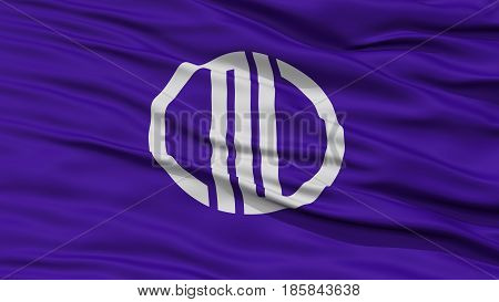 Closeup of Sendai Flag, Capital of Japan Prefecture, Waving in the Wind, High Resolution