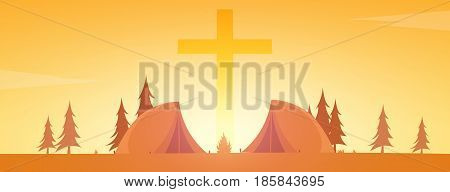 Christian Summer Camp. Evening Camping. Cross. Vector Illustration.
