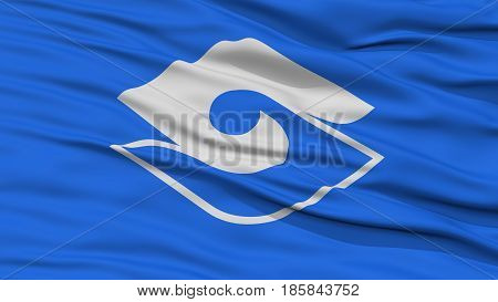 Closeup of Shizuoka Flag, Capital of Japan Prefecture, Waving in the Wind, High Resolution