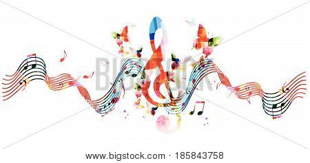 Music notes background. Colorful stave with G-clef and music notes isolated vector illustration