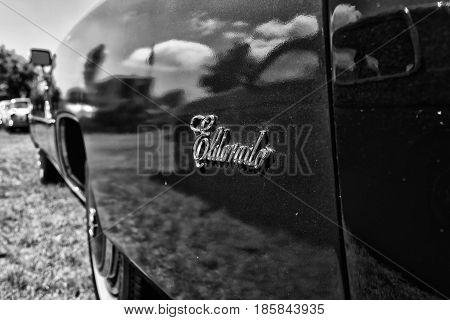 Paaren Im Glien, Germany - May 19: Emblem Of Full-size Personal Luxury Car Cadillac Eldorado, Black