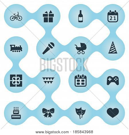 Vector Illustration Set Of Simple Celebration Icons. Elements Confectionery, Baby Carriage, Game And Other Synonyms Cap, Theater And Fizz.