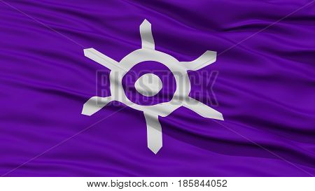 Closeup of Tokyo Flag, Capital of Japan Prefecture, Waving in the Wind, High Resolution