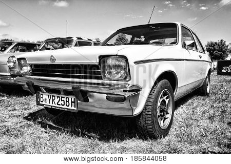 Paaren Im Glien, Germany - May 19: Small Family Car Opel Kadett C Coupe, Black And White, The Oldtim