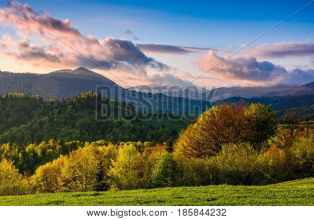 mountain rural area in springtime. agricultural fields on hills with forest. beautiful and vivid countryside landscape with cloudy sky at sunset.