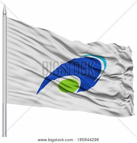 Tsu Mie Capital City Flag on Flagpole, Prefecture of Japan, Isolated on White Background