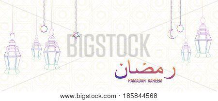 Ramadan beautiful greeting card with hanging lanterns moon and stars on abstract background. Lettering translates as Ramadan Kareem. Muslim traditional holiday. Vector.