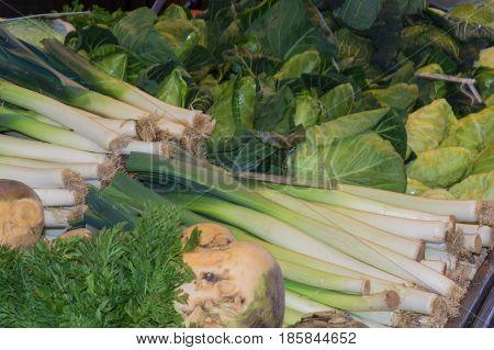 Fresh green vegetables for sale at supermarket