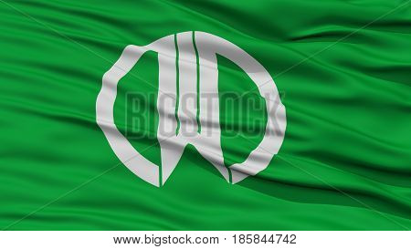 Closeup of Yamagata Flag, Capital of Japan Prefecture, Waving in the Wind, High Resolution