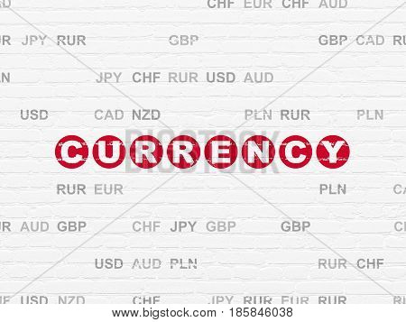 Money concept: Painted red text Currency on White Brick wall background with Currency