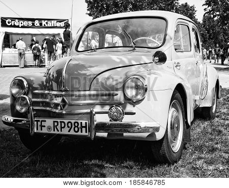 Paaren Im Glien, Germany - May 19: Compact Car Renault 4Cv, (black And White),
