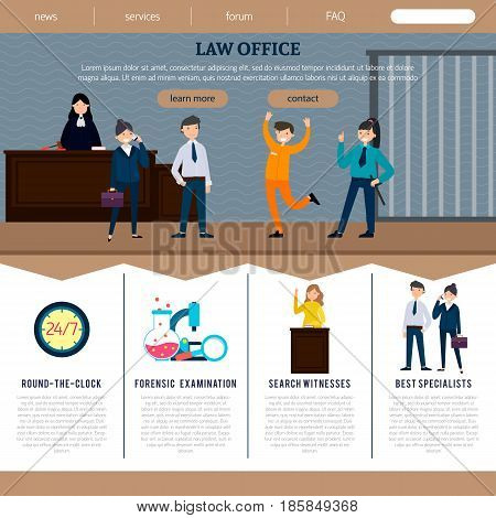Law office web site template with court participants and judicial elements in flat style vector illustration