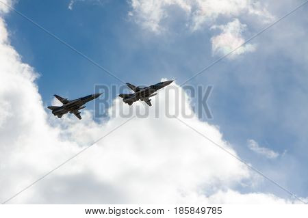 St. Petersburg, Russia - May 09: Flight Military Aeromechanics For Participation In A Parade,russia