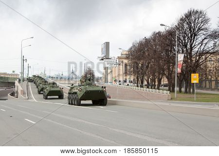 St. Petersburg, Russia - May 09: Passing Of Military Equipment After The Parade On City Streets,russ