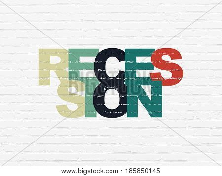 Finance concept: Painted multicolor text Recession on White Brick wall background