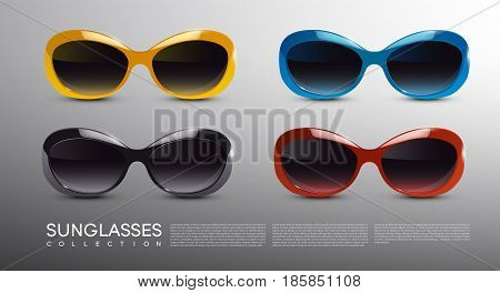 Fashionable modern sunglasses set with orange blue dark and red rims in realistic style isolated vector illustration