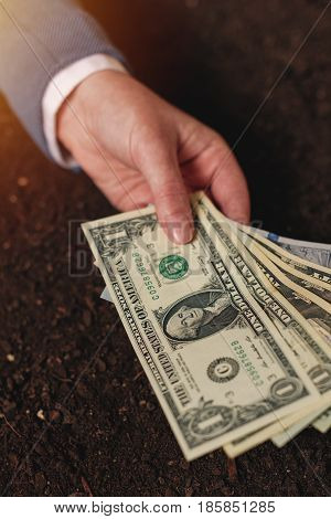 Bank loan for agricultural activity in USA dollar banknotes businesswoman in elegant business suit with american currency cash money over fertile soil