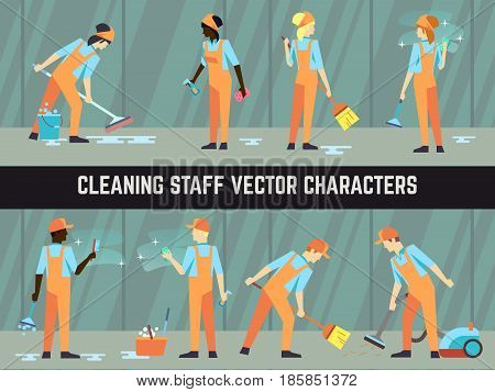 International cleaning staff - cleaning women and men vector characters illustration