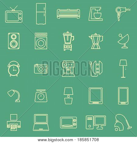 Household line color icons on green background, stock vector