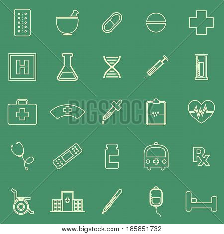 Pharmacy line color icons on green background, stock vector