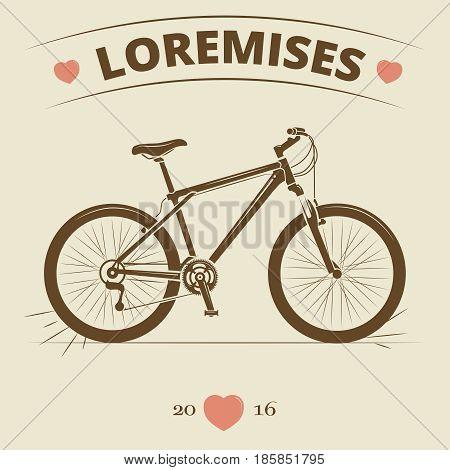 Vintage bicycle logo or print design. Retro bike banner or poster. Vector illustration