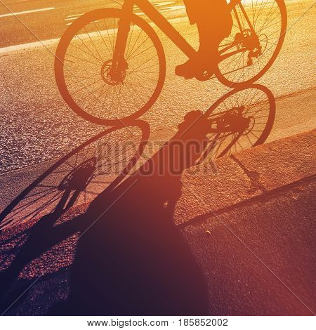 Riding bicycle shadow of unrecognizable person on a bike