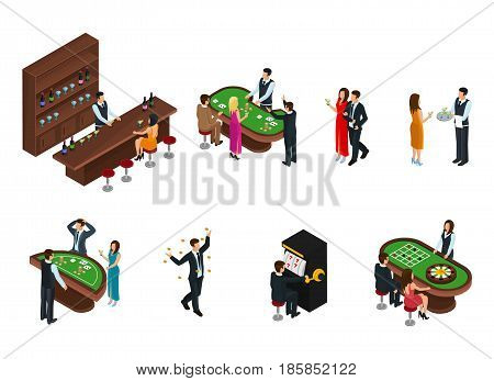 Isometric people in casino set with bartender waiter croupier and visitors playing in different games isolated vector illustration