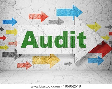 Finance concept:  arrow with Audit on grunge textured concrete wall background, 3D rendering
