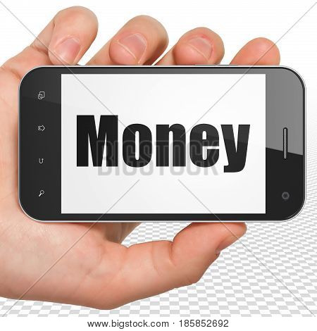 Business concept: Hand Holding Smartphone with black text Money on display, 3D rendering