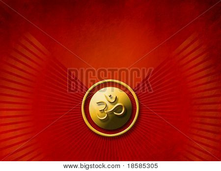 Meditation concept - golden OM sign