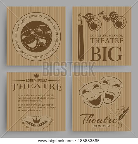 Vintage theatre cards collection with theatre symbols. Banner art entertainment, vector illustration