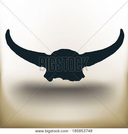 Simple symbolic image of a buffalo skull