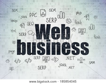 Web design concept: Painted black text Web Business on Digital Data Paper background with  Hand Drawn Site Development Icons