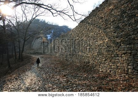 Samnyeon sanseong, Chungcheong Province, South Korea - February 16, 2011:Stone wall of the fortress. tourist sighting  -February 16, 2011 - Samnyeon sanseong, Chungcheong Province, South Korea