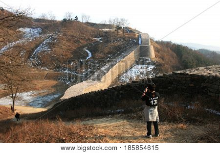 Samnyeon sanseong, Chungcheong Province, South Korea - February 16, 2011:Stone wall of the fortress. tourist sighting  -February 16, 2011 - Samnyeon sanseong, Chungcheong Province, South Korea