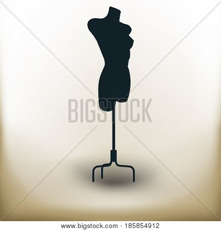 Simple symbolic image of old tailor dummy