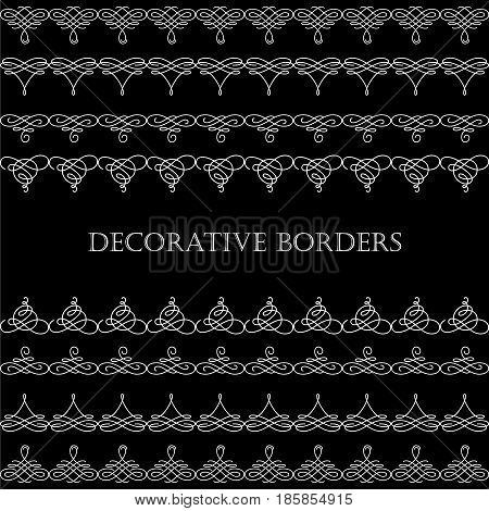 Set collection of borders with sample text in calligraphic retro style isolated on black background. Can be used for decorate cards invitations menu. Vector illustration