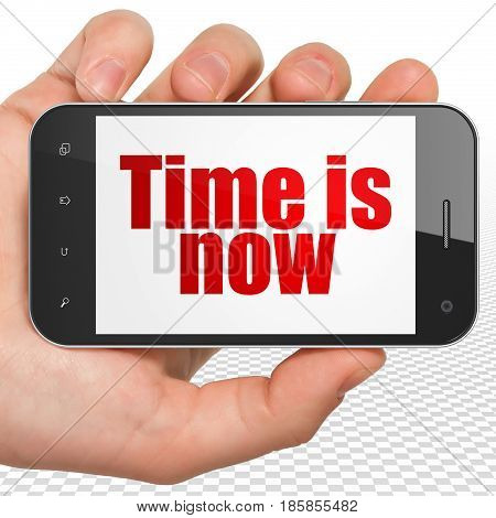 Time concept: Hand Holding Smartphone with red text Time is Now on display, 3D rendering