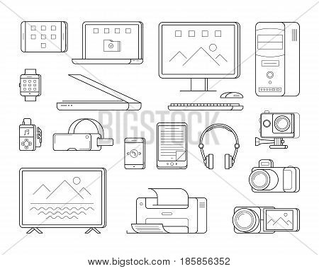 Electronic office devices and person gadgets computer, laptop and tablet, video camera, printer and smartphone, player with headphones and smartwatch. Vector icons in thin line style.