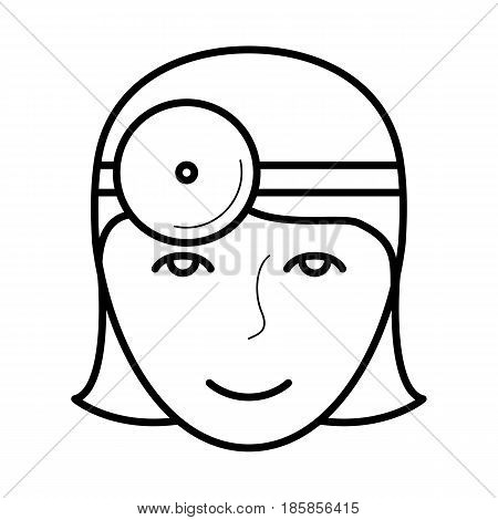Eye doctor icon, oculist examinating eye and vision, line art pictogram, image for ophthalmology education, doctor poster, optical salon, eye health and care concept. Flat style vector illustration