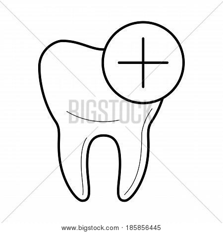 Healthy tooth icon, positive characteristics, good for teeth educational poster for medical clinic, professional treatment image, stomatology pictogram, health concept. Vector illustration