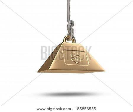 Weight with dollar symbol tied on a rope. 3d illustration isolated on a white background.
