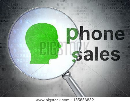 Advertising concept: magnifying optical glass with Head icon and Phone Sales word on digital background, 3D rendering
