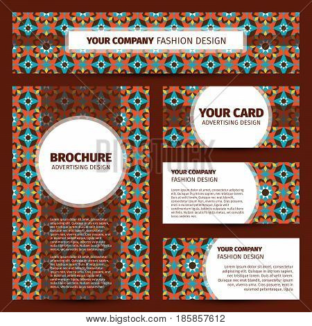 Corporate identity design with moroccan mosaic pattern, vector illustration