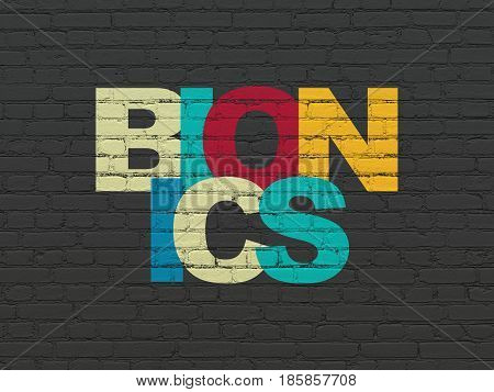 Science concept: Painted multicolor text Bionics on Black Brick wall background