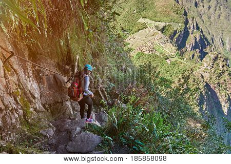 Young Woman Walk In Machu Picchu