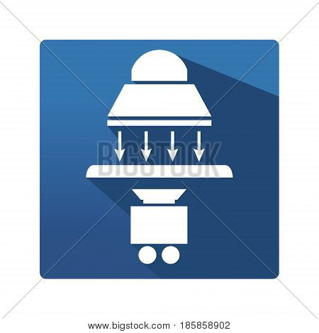 Industrial lamp buttom. Icon in trendy flat style isolated on blue background. Lamp symbol and camera for your web site design, logo, app. Vector illustration, EPS10